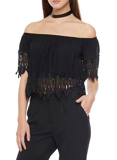 Off The Shoulder Crop Top with Crochet Leaf Trim,BLACK,large