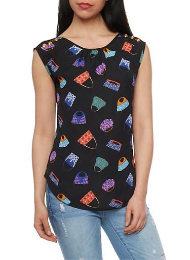 Handbag Print Sleeveless Top,BLACK,large