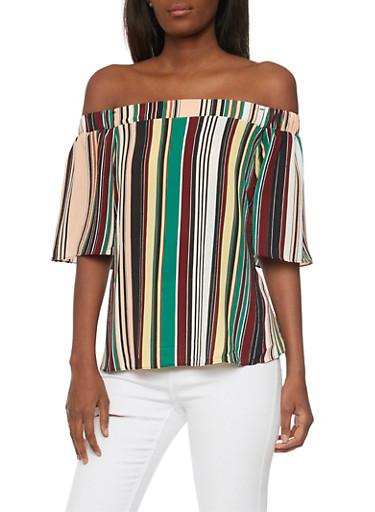 Off the Shoulder Multi-Color Striped Top,MULTI COLOR,large