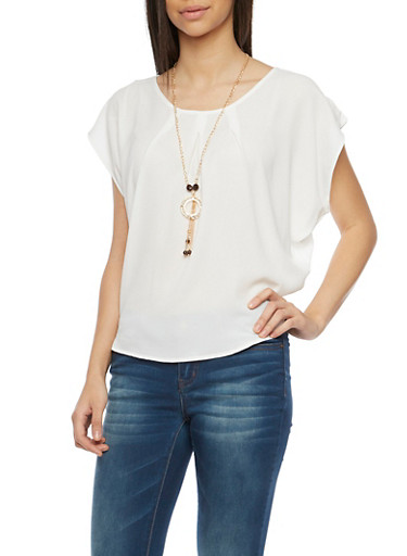 Scoop Neck Circle Top with Necklace,OFF WHITE,large