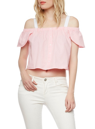 Off the Shoulder Flutter Sleeve Top with Wide Straps,LT PINK,large