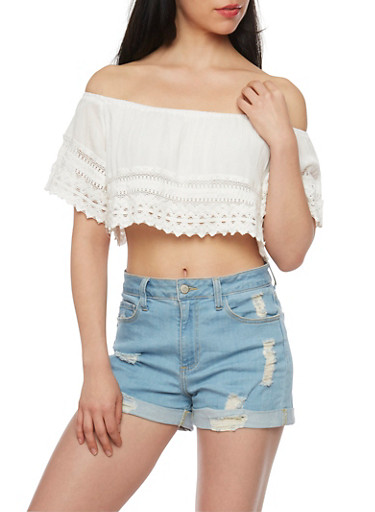 Crinkled Knit Off The Shoulder Crop Top with Crochet Detail,IVORY,large