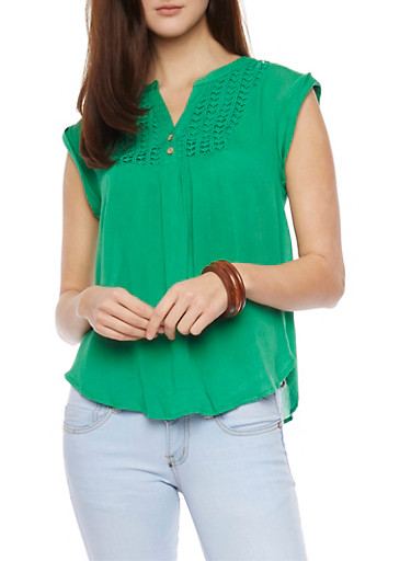 Soft Knit Cap Sleeve Crochet Accent Top,KELLY GREEN,large