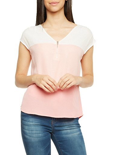 Color Block Top with Zip V Neck,ROSE,large