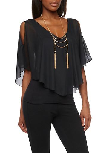 Cold Shoulder Flutter Top with Necklace,BLACK,large