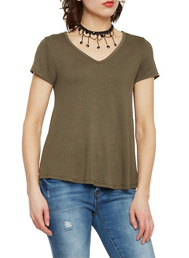 Basic T Shirt with Fringe Choker,OLIVE,large