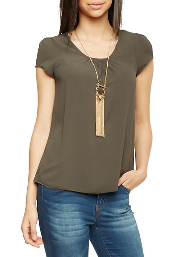 Short Sleeve Top with Removable Necklace,OLIVE,large