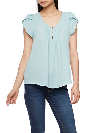 Soft Knit Short Sleeve Pleated Top,DUSTY BLUE,large