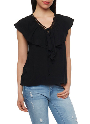 Faux Lace Up V Neck Top with Capelet,BLACK,large