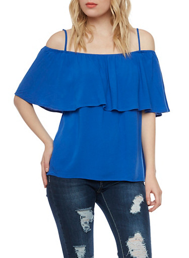 Off the Shoulder Top with Straps and Ruffle Overlay,RYL BLUE,large