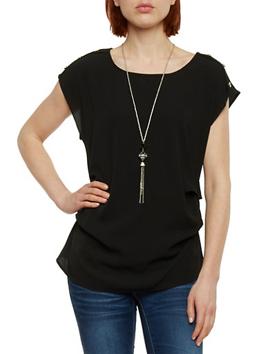 Ruched Solid Crepe Top with Necklace,BLACK,large