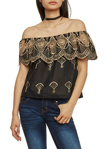 Embroidered Off Shoulder Top with Scalloped Overlay,BLACK/NATURAL,large