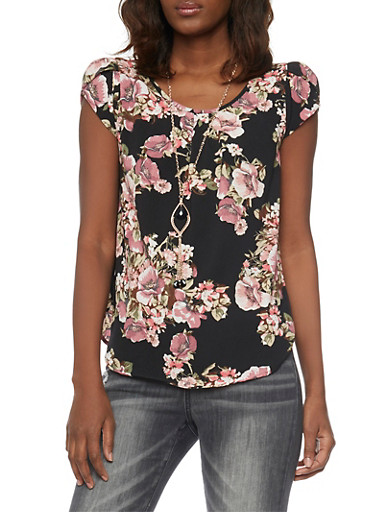 Cap Sleeve Floral Crepe Top with Necklace,BLACK,large