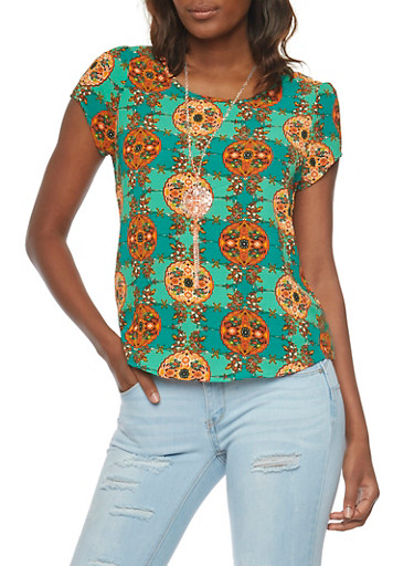 Printed Short Sleeve Top with Necklace,EMERALD,large