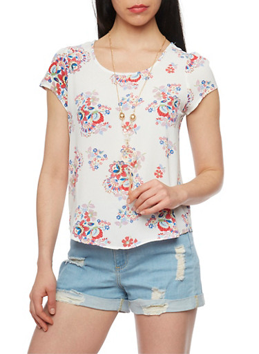 Floral Print Short Sleeve Top with Necklace,IVORY/YELLOW,large