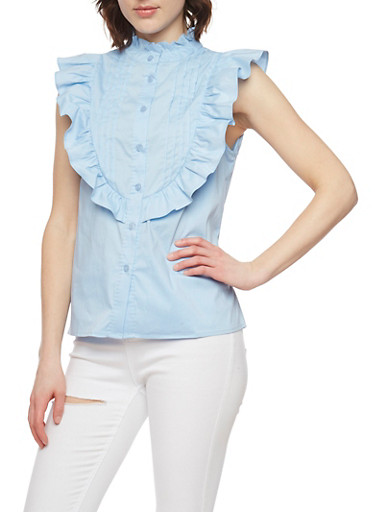 Pleated Button Front Sleeveless Top with Ruffle Detail,LT BLUE,large