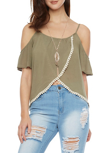 Cold Shoulder Pom Pom Trim Gauze Top with Tulip Hem,SAGE,large