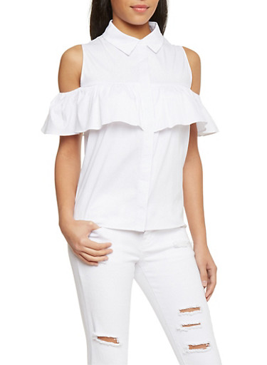 Ruffled Cold Shoulder Button Up Top,WHITE,large
