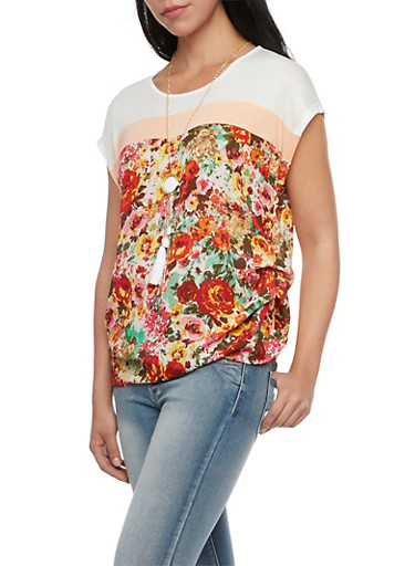 Color Block Top with Floral Panel and Necklace,BROWN/RED,large