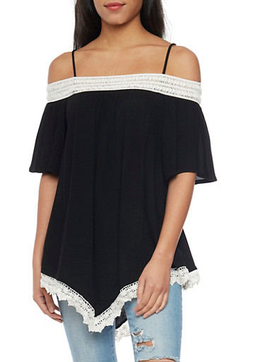 Off The Shoulder Bell Sleeve Hanky Hem Top,BLACK,large