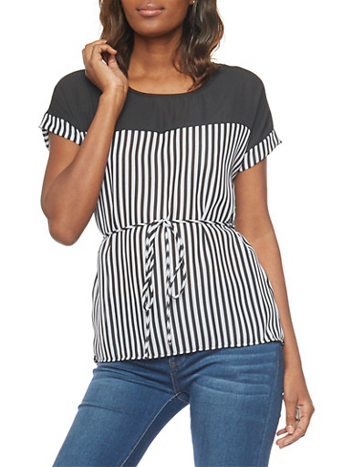 Striped Short Sleeve Top with Tie Waist,BLACK/WHITE,large