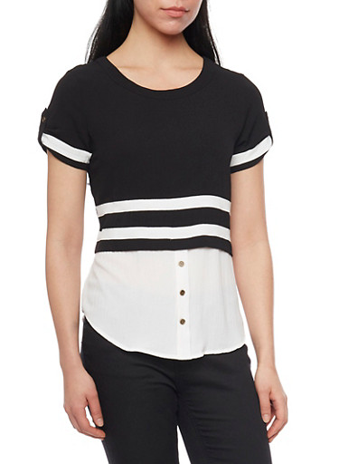 Two Tone High Low Blouse with Tab Sleeves and Button Detail,BLACK/WHITE,large