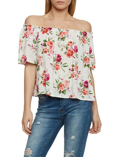 Off The Shoulder Floral Top with Necklace,IVORY,large