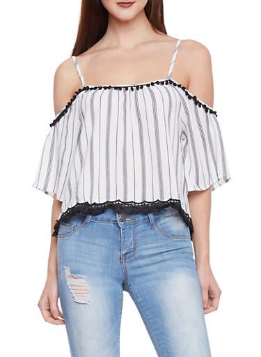 Striped Cold Shoulder PomPom Shirt,WHT-BLK,large