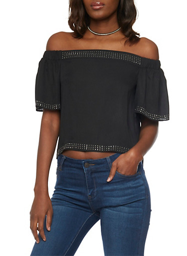 Off the Shoulder Top with Studded Accents,BLACK,large