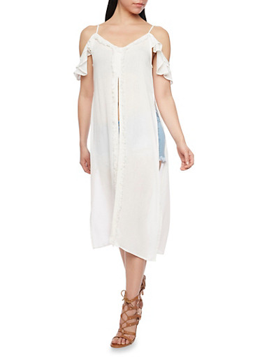 Ruffled Cold Shoulder Maxi Top with Flutter Sleeves,IVORY,large