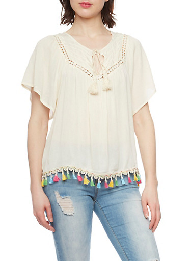 Short Sleeve Crinkle Knit Peasant Top with Multi Color Tassel Trim,NATURAL,large
