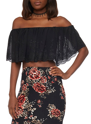 Off the Shoulder Crop Top with Eyelet Overlay and Choker,BLACK,large