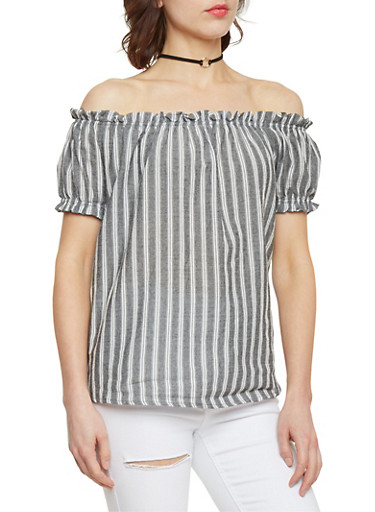 Striped Off the Shoulder Top with Puffed Sleeves,BLACK/WHITE,large