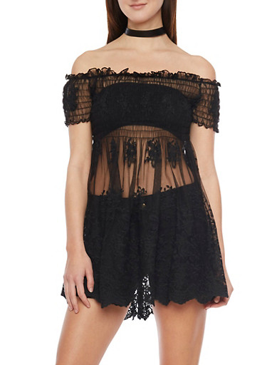 Embroidered Sheer Mesh Babydoll Top with Crochet Trim,BLACK,large