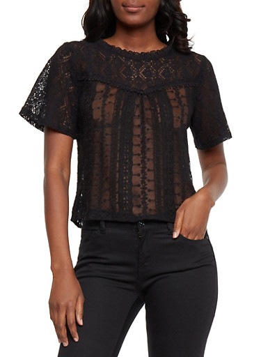 Mesh Lace Top with Back Keyhole,BLACK,large