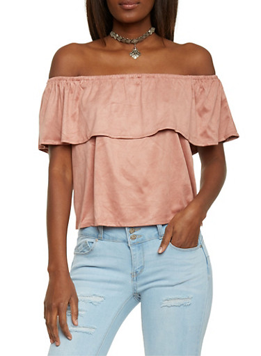 Off the Shoulder Top with Ruffle Overlay and Necklace,MAUVE,large