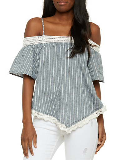 Off the Shoulder Striped Top with Crochet Hanky Hem,CHAMBRAY,large