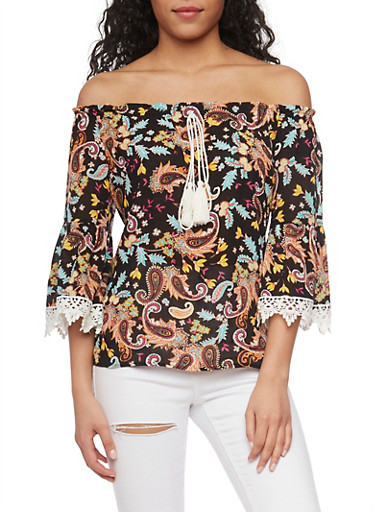 Printed Off the Shoulder Top with Crochet Detail,BLACK,large