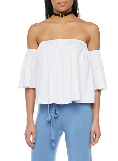 Off the Shoulder Bell Sleeve Blouse with Choker,WHITE,large