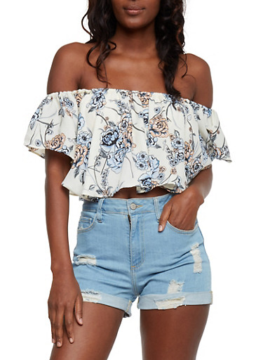 Floral Off the Shoulder Flounce Crop Top with Choker,IVORY,large