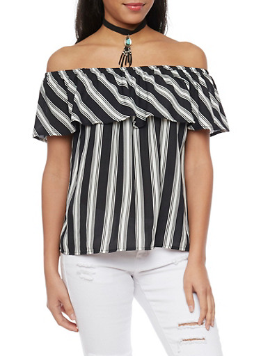 Striped Off The Shoulder Top with Choker,BLACK/WHITE,large