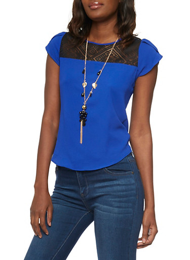 Short Sleeve Lace Yoke Top with Necklace,RYL/BLK,large