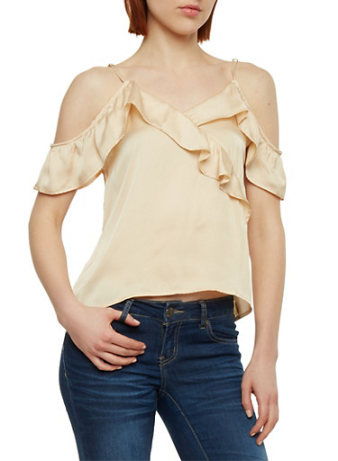 Satin Cold Shoulder Top with Ruffle Detail,CHAMPAGNE,large