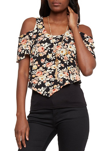 Layered Floral Cold Shoulder Top with Necklace,BLACK/CORAL,large