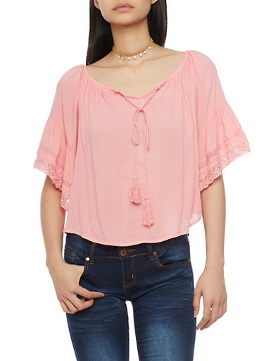 Off The Shoulder Top with Crochet Detail Bell Sleeves,BLUSH,large