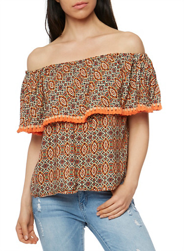 Printed Off the Shoulder Top with Tassel Trim,RUST,large