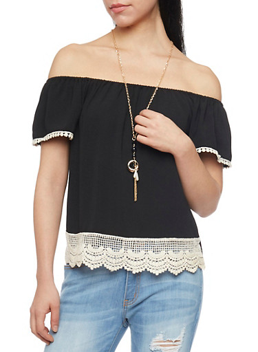 Off the Shoulder Top with Pom Pom Crochet Trim and Necklace,BLACK,large