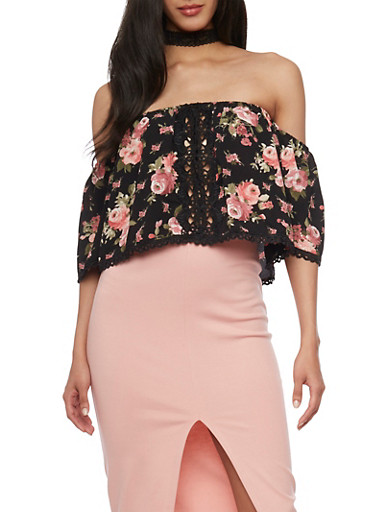 Off the Shoulder Floral Print Top with Crochet Details,BLACK/PINK,large
