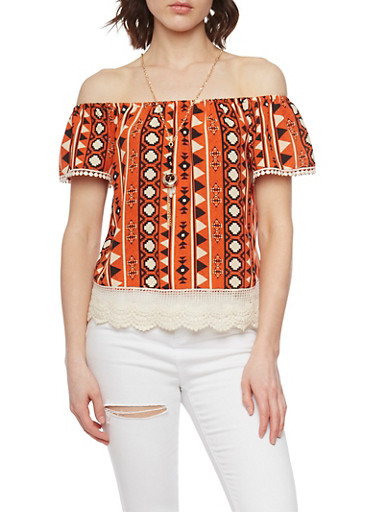 Off the Shoulder Tribal Top with Crochet Trim,ORANGE,large