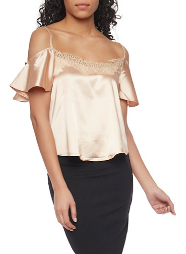 Satin Cold Shoulder Top with Flutter Sleeves,CHMPG/MOCHA,large